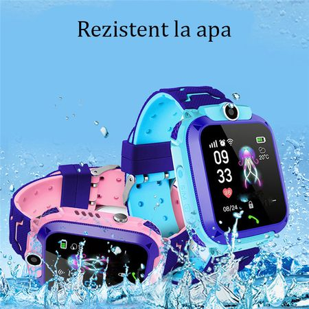 Ceas smartwatch copii GPS Q12, rezistent la apa, telefon, touchscreen, foto, monitorizare spion, buton SOS, albastru 2